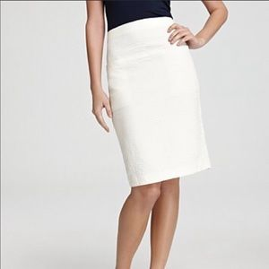 Theory Clea White Stretch Cotton Pencil Skirt